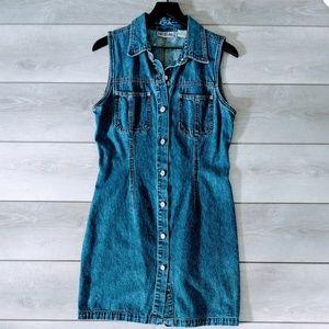 Vintage 90s Bill Blass Jeans Denim Button Up Dress